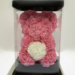 Pink Forever Teddy Bear with Small Artificial Roses