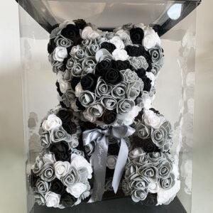 Μεγάλο Μαύρο, Γκρι & Λευκό Forever Teddy Bear με Τεχνητά Μικρά Τριαντάφυλλα