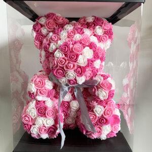 Μεγάλο Ροζ & Άσπρο Forever Teddy Bear με Μικρά Τεχνητά Τριαντάφυλλα